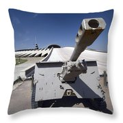 Baghdad, Iraq - An Iraqi Howitzer Sits Throw Pillow by Terry Moore