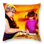 Baking Cookies With Grandma Throw Pillow by Nikki Marie Smith