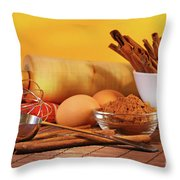 Baking Ingredients Throw Pillow by Sandra Cunningham