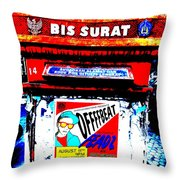 Bali Graffitied Funky Postbox Throw Pillow by Funkpix Photo Hunter