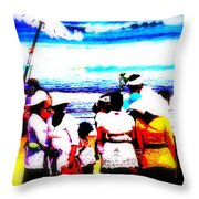 Balinese Beach Funeral  Throw Pillow by Funkpix Photo Hunter