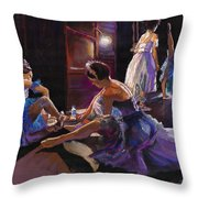 Ballet Behind The Scenes Throw Pillow by Yuriy  Shevchuk