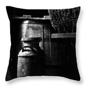 Barrel in the Barn Throw Pillow by Jim Finch