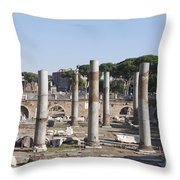 Base Of Trajan's Column And The Basilica Ulpia. Rome Throw Pillow by Bernard Jaubert