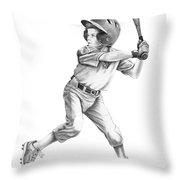 Baseball Kid Throw Pillow by Murphy Elliott