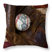 Baseball Mitt With Earth Baseball Throw Pillow by Garry Gay