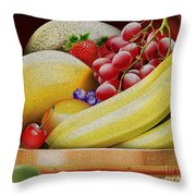 Basket Of Fruit Throw Pillow by Cheryl Young