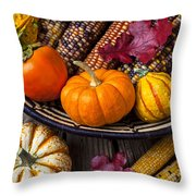 Basketful Of Autumn Throw Pillow by Garry Gay