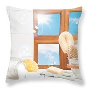 Bathroom Interior Still Life Throw Pillow by Amanda And Christopher Elwell