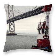 Bay Bridge And Fireboat In The Rain Throw Pillow by Jarrod Erbe