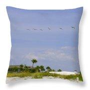 Beach House Throw Pillow by Georgia Fowler