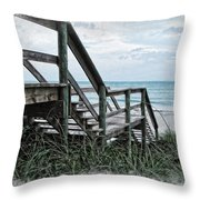 Beach Steps Throw Pillow by Joan  Minchak