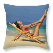 Beach Stretches Throw Pillow by Tomas del Amo