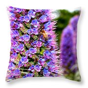 Bee On Purple Pride Of Madeira Flowers . 7d14835 Throw Pillow by Wingsdomain Art and Photography