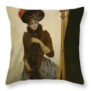 Before The Swing Mirror Throw Pillow by Emile Galle