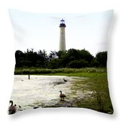 Behind the Cape May Lighthouse Throw Pillow by Bill Cannon