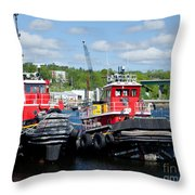 Belfast Tugboats Throw Pillow by Susan Cole Kelly