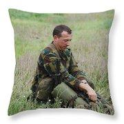 Belgian Paratroopers Red Berets Throw Pillow by Luc De Jaeger