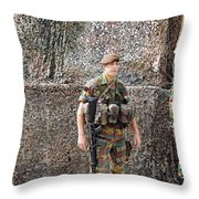 Belgian Soldier On Guard Throw Pillow by Luc De Jaeger
