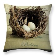 Believe Achieve Receive Throw Pillow by Darren Fisher