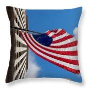 Betsy Ross Flag In Chicago Throw Pillow by Semmick Photo