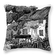 Bewick: Rural House Throw Pillow by Granger