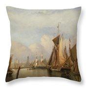 Billingsgate Wharf Throw Pillow by John Wilson Carmichael