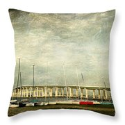 Biloxi Bay Bridge Throw Pillow by Joan McCool