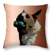 Binky Throw Pillow by One Rude Dawg Orcutt