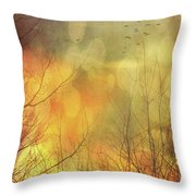 Birds In Flight At Sunset Throw Pillow by Sandra Cunningham