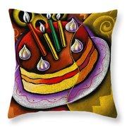 Birthday  Cake  Throw Pillow by Leon Zernitsky