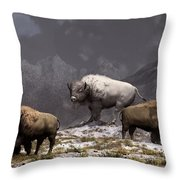Bison King Throw Pillow by Daniel Eskridge