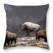 Bison King Throw Pillow by Daniel Eskridge