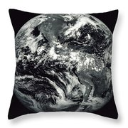 Black And White Image Of Earth Throw Pillow by Stocktrek Images