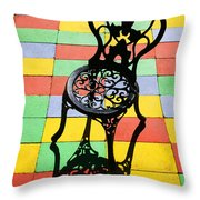 Black Iron Chair Throw Pillow by Garry Gay