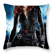 Black Widow Throw Pillow by Tom Carlton
