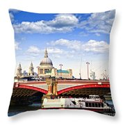 Blackfriars Bridge And St. Paul's Cathedral In London Throw Pillow by Elena Elisseeva