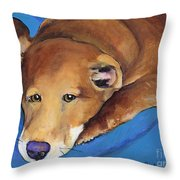 Blue Blanket Throw Pillow by Pat Saunders-White