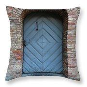Blue Door Throw Pillow by Carol Groenen