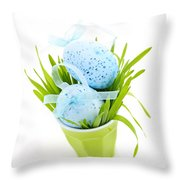 Blue Easter eggs and green grass Throw Pillow by Elena Elisseeva