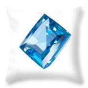 Blue Gem Isolated Throw Pillow by Atiketta Sangasaeng
