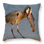 Blue Heron Vs. Rainbow Trout Throw Pillow by Paul Marto