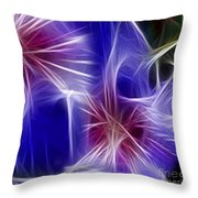 Blue Hibiscus Fractal Panel 4 Throw Pillow by Peter Piatt
