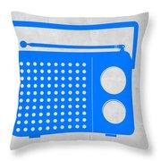Blue Transistor Radio Throw Pillow by Naxart Studio