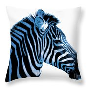 Blue Zebra Art Throw Pillow by Rebecca Margraf