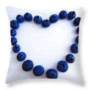 Blueberry Heart Throw Pillow by Julia Wilcox