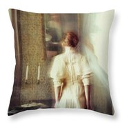 Blurry Image Of A Woman In Vintage Dress  Throw Pillow by Sandra Cunningham