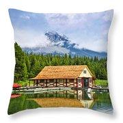 Boathouse On Mountain Lake Throw Pillow by Elena Elisseeva