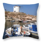 Boats And Windmill Throw Pillow by Jane Rix