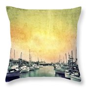 Boats in the Harbor Throw Pillow by Jill Battaglia